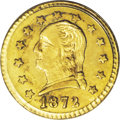 California Fractional Gold: , 1872 25C Washington Round 25 Cents, BG-818, Low R.4, MS63 PCGS. Ayellow-gold example with hints of lemon on the obverse, a...