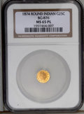 California Fractional Gold: , 1874 25C Indian Round 25 Cents, BG-876, Low R.4, MS65 ProoflikeNGC. A deeply reflective and somewhat scyphate orange-yello...