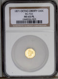 California Fractional Gold: , 1871 50C Liberty Octagonal 50 Cents, BG-926, High R.6, MS65Prooflike NGC. A deeply mirrored Gem with lovely lemon-yellow s...