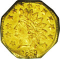 California Fractional Gold: , 1880 50C Indian Octagonal 50 Cents, BG-954, Low R.4, MS64 PCGS. Thefields on both sides are highly reflective and yellow-g...