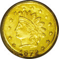 California Fractional Gold: , 1872 50C Indian Round 50 Cents, BG-1048, Low R.4, MS65 PCGS. Nicelyreflective with slight contrast, just shy of prooflike ...