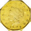California Fractional Gold: , 1875 $1 Liberty Octagonal 1 Dollar, BG-1111, High R.7, MS62 PCGS.This late date Period Two octagonal dollar has moderately...
