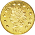 California Fractional Gold: , 1872 $1 Indian Round 1 Dollar, BG-1207, R.4, MS63 PCGS. Fullyprooflike with brilliant green-gold color and desirable cameo...
