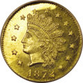 California Fractional Gold: , 1872 50C Indian Round 50 Cents, BG-1048, Low R.4, MS66 Deep MirrorProoflike NGC. Small stars, with the sixth star attached...