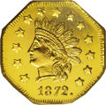 California Fractional Gold: , 1872 $1 Indian Octagonal 1 Dollar, BG-1119, High R.5, MS64 DeepMirror Prooflike NGC. The O in DOLLAR is widely repunched n...