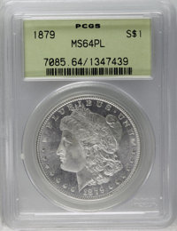 1879 $1 MS64 Prooflike PCGS. Well struck and lustrous with golden accents over prooflike, brilliant surfaces. Small abra...