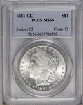 1881-CC $1 MS66 PCGS. Light frosting on the well struck devices complements the lightly toned, lustrous surfaces. An att...