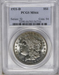 1921-D $1 MS66 PCGS. This Premium Gem has tan-gray toning over the highpoints and satiny luster. Some weakness of strike...