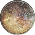 Morgan Dollars: , 1880-S $1 MS66 PCGS. Exquisitely toned on the obverse in brightantique-gold with deeper irid...