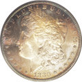 1880-S $1 MS66 PCGS. Huge amounts of eye appeal are accorded to this Gem Morgan silver dollar because of its crispy yell...