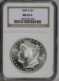Morgan Dollars: , 1880-S $1 MS67 ★ NGC. Untoned with frosty-white luster, thesurfaces are typically blemish-f...