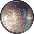 Morgan Dollars: , 1880-S $1 MS67 PCGS. The obverse has effusive champagne, orange, and teal patina in a cloth p...
