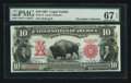 Large Size:Legal Tender Notes, Fr. 114 $10 1901 Legal Tender PMG Superb Gem Unc 67 EPQ.. ...