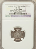 Seated Dimes, 1876-CC 10C Double Die Obverse Type One Rev FS-102. -- ImproperlyCleaned -- NGC Details. XF. NGC Census: (4/280). PCGS Pop...