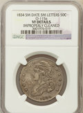Bust Half Dollars, 1834 50C Small Date, Small Letters -- Improperly Cleaned -- NGCDetails. VF. O-115A. NGC Census: (0/0). PCGS Population (13...