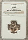 Buffalo Nickels: , 1937-D 5C MS66 NGC. NGC Census: (1864/88). PCGS Population(1642/85). Mintage: 17,826,000. Numismedia Wsl. Price for proble...