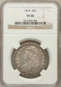 Bust Half Dollars: , 1814 50C VF30 NGC. NGC Census: (31/531). PCGS Population (38/476).Mintage: 1,039,075. Numismedia Wsl. Price for problem fr...