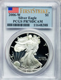 Modern Bullion Coins, 2006-W $1 Silver Eagle First Strike PR70 Deep Cameo PCGS. PCGSPopulation (2254). NGC Census: (17475)....