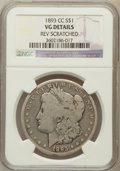 Morgan Dollars, 1893-CC $1 -- Reverse Scratched -- NGC Details. VG. NGC Census:(108/2953). PCGS Population (150/5357). Mintage: 677,00...