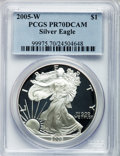 Modern Bullion Coins, 2005-W $1 Silver Eagle PR70 Deep Cameo PCGS. PCGS Population(1771). NGC Census: (11127). Numismedia Wsl. Price for proble...