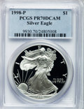Modern Bullion Coins: , 1998-P $1 Silver Eagle PR70 Deep Cameo PCGS. PCGS Population (953).NGC Census: (1034). Numismedia Wsl. Price for problem ...
