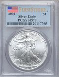 Modern Bullion Coins, 2004 $1 Silver Eagle, First Strike MS70 PCGS. PCGS Population(385). NGC Census: (0). ...
