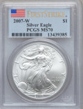 Modern Bullion Coins, 2007-W $1 Silver Eagle First Strike MS70 PCGS. PCGS Population(3688). NGC Census: (14078)....