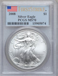 Modern Bullion Coins, 2008 $1 Silver Eagle First Strike MS70 PCGS. PCGS Population(10758). NGC Census: (4152)....