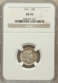 Barber Dimes: , 1911 10C AU55 NGC. NGC Census: (16/800). PCGS Population (27/966).Mintage: 18,870,544. Numismedia Wsl. Price for problem f...