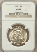 Walking Liberty Half Dollars: , 1942 50C MS64 NGC. NGC Census: (3936/7896). PCGS Population(5891/9323). Mintage: 47,839,120. Numismedia Wsl. Price for pro...