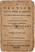 Books:Pamphlets & Tracts, [Revolutionary War] [John Allen]: An Oration Upon the Beautiesof Liberty,...