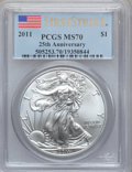 Modern Bullion Coins, 2011 $1 Silver American Eagle, 25th Anniversary First Strike MS70PCGS. PCGS Population (38356). NGC Census: (52896)....