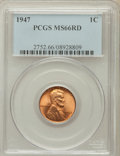 Lincoln Cents: , 1947 1C MS66 Red PCGS. PCGS Population (446/15). NGC Census:(632/21). Mintage: 190,555,008. Numismedia Wsl. Price for prob...