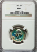 Proof Washington Quarters: , 1940 25C PR64 NGC. NGC Census: (216/1123). PCGS Population(412/1515). Mintage: 11,246. Numismedia Wsl. Price for problem f...