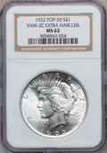 Peace Dollars, 1922 $1 MS62 NGC. Vam-2C Top-50. EX: Extra Hair LDS. NGC Census:(5565/160778). PCGS Population (9278/99465). Mintage: 51,...
