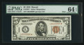 Small Size:World War II Emergency Notes, Fr. 2301* $5 1934 Hawaii Mule Federal Reserve Note. PMG ChoiceUncirculated 64 EPQ.. ...