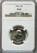Proof Washington Quarters: , 1942 25C PR65 NGC. NGC Census: (629/932). PCGS Population(1314/1125). Mintage: 21,123. Numismedia Wsl. Price for problemf...
