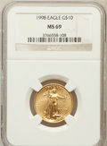 Modern Bullion Coins: , 1998 G$10 Quarter-Ounce Gold Eagle MS69 NGC. NGC Census: (575/19).PCGS Population (693/17). Numismedia Wsl. Price for pro...