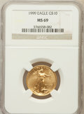 Modern Bullion Coins: , 1999 G$10 Quarter-Ounce Gold Eagle MS69 NGC. NGC Census: (916/73).PCGS Population (1177/11). Numismedia Wsl. Price for pr...
