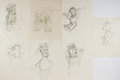 Art:Illustration Art - Mainstream, Garth Williams. Seven Rough Pencil Sketches for Various Charactersin Margaret Wise Brown's The Sailor Dog. Plai...