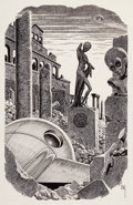 Pulp, Pulp-like, Digests, and Paperback Art, VIRGIL FINLAY (American, 1914-1971). Mercenaries Unlimited,probable science fiction digest interior illustration. Pen o...