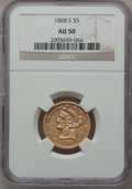 Liberty Half Eagles, 1868-S $5 AU50 NGC....