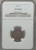 Indian Cents: , 1878 1C AU55 NGC. NGC Census: (14/178). PCGS Population (29/127).Mintage: 5,799,850. Numismedia Wsl. Price for problem fre...