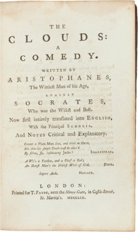 Aristophanes. The Clouds: A Comedy. London: 1759. Small octavo. Contemporary calf, b