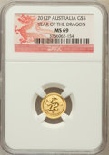 Australia: , 2012-P G$5 Year of the Dragon MS69 NGC. PCGS Population (22/0)....