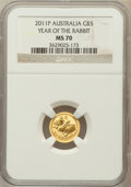 Australia, 2011-P G$5 Year of the Rabbit MS70 NGC. NGC Census: (0). PCGSPopulation (19)....