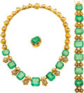 Estate Jewelry:Suites, Emerald, Freshwater Cultured Pearl, Gold Jewelry Suite. ... (Total: 3 Items)