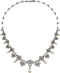 Estate Jewelry:Necklaces, Victorian Diamond, Cultured Pearl, Silver-Topped Gold Necklace. ...