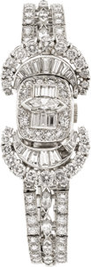 Estate Jewelry:Watches, Hamilton Lady's Diamond, Platinum Covered Dial Bracelet Watch. ...