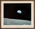 "Explorers:Space Exploration, Apollo 8 Large Color ""Earthrise"" Photo Crew-Signed on the Mat Directly from the Personal Collection of Astronaut William Pogue..."